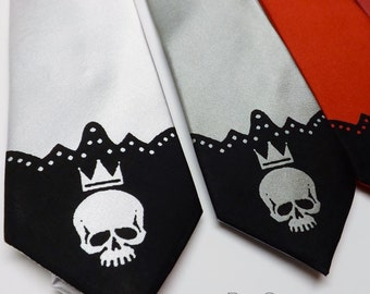 RokGear Necktie - Mens skinny skull necktie custom colors print to order