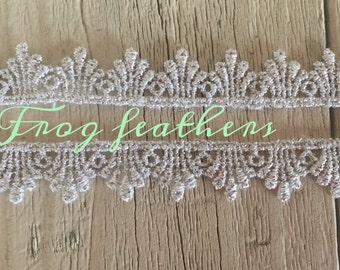 Metallic SILVER VENISE LACE Trim 1/2 inch wide-2 yards
