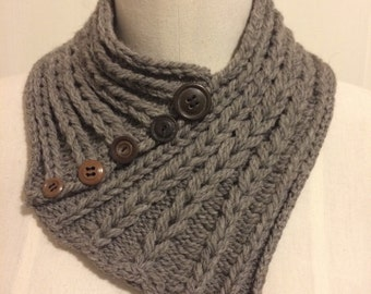 Organic taupe wool knot braided cowl with vintage buttons ready to ship