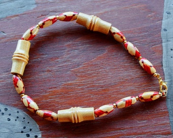 Reclaimed bamboo, metal and wood bead bracelet in red, brown and yellow - simple nature jewelry for costumes, holidays, more