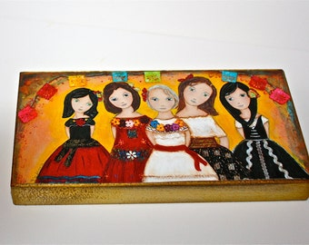 The Five of Us -  Giclee print mounted on Wood (5 x 10 inches) Folk Art  by FLOR LARIOS