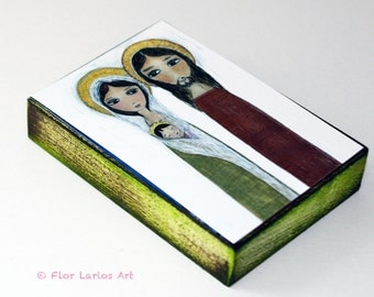 Sacred Family - Giclee print mounted on Wood (5 x 7 inches) Folk Art  by FLOR LARIOS