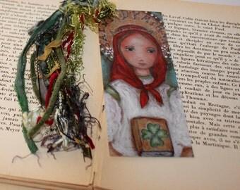 Saint Dymphna -  Laminated Bookmark  Handmade - Original Art by FLOR LARIOS
