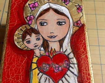 Immaculate Heart Mary with Baby - Original Painting on 3 x6 Wood Block - Art  by FLOR LARIOS