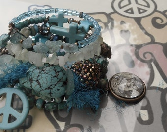 Groovin' Turquoise BOHO Wrap Rosary Bracelet