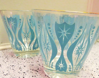 Aqua Strarburst Vintage Rocks Glasses  Set of 4  Mid-Century