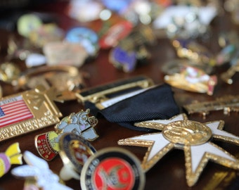 Huge Collection of Shriner Masonic Lapel Pins Ararat Circus Tac Pins From the 1960's 1970's, 1980's and 1990's and Metal Fraternal Pins