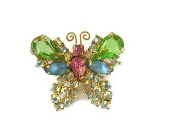 Vintage Butterfly Brooch Rhinestones