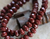 10% off BRICK BITS .. 30 Picasso Czech Glass Rondelle Beads 3x5mm (5135-st)