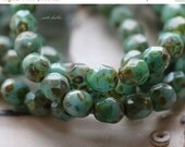10% off FACETED SEASHORE No. 1 .. 25 Picasso Czech Faceted Glass Beads 6mm (3475-st)