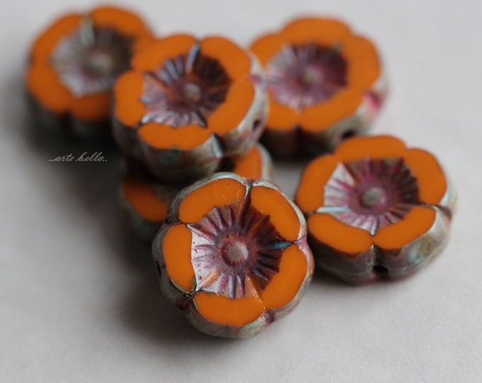 ROASTED PANSY No. 2 .. 6 Picasso Czech Glass Flower Beads 12mm (4925-6)