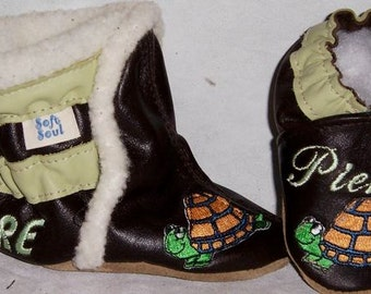baby leather  booties  and shoes set - personalized leather boots and shoes - soft soul baby shoes