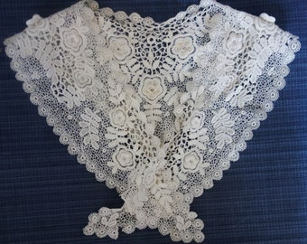 stunning vintage schifli lace collar 35x5 inches