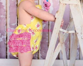 SALE Baby Girl Outfit, Baby Girl Easter, Baby Girl Sunsuit Romper Bubble with Ruffles - Cottage Garden Yellow Easter