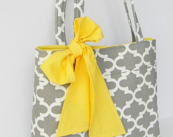 Gray and White Tote Bag  Every Day Bag Diaper Bag Bridesmaids Tote Bag with Yellow Sash Bow Ready to Ship