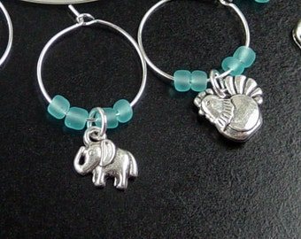 Wine Charms 6 Silver ANIMALS Boy Blue Beads Shower Stemware Glass Gifts Wedding Favors (1027win20s1)