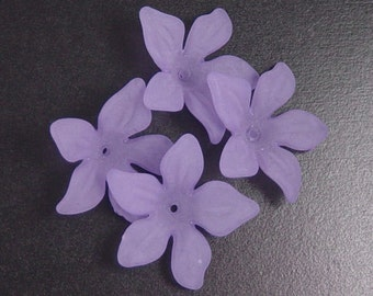 Acrylic Bead 8 Purple Flower Star Daisy 5-Petal Frosted 27mm x 7mm (1019luc27m4-7)
