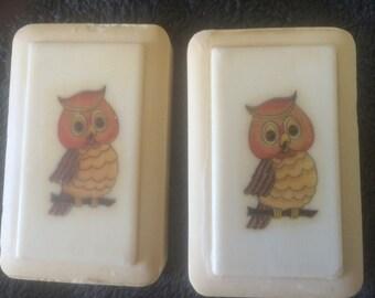 Vintage owl soaps in original box
