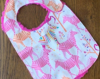 Pink Zebra Minky Baby/Toddler Bib