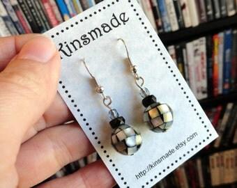 Earrings Mosaic Shell Bead, silvertone and black simple, elegant, stunning, disco ball dangle earrings 12m focal beads pierced ears