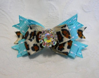 "DOG BOW-  5/8"" Aqua Snow Leopard Ice Crystal Boutique Dog Bow"