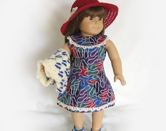 Doll Dress Hat Shrug and Shoes Ensemble 18 inch Doll Sleeveless Dress Am Girl Doll 1960's Dress AG Doll Red White Blue Dress Hat and Shoes