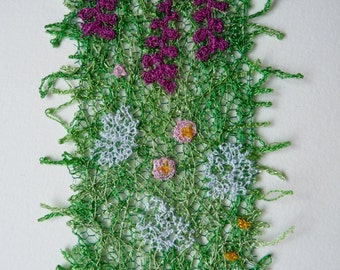 Hedgerow bookmark: textile art, free machine embroidered