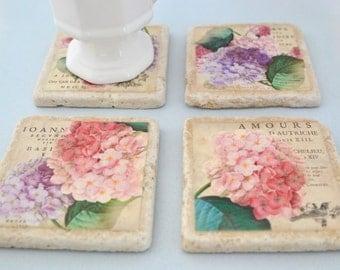 Travertine Tile Coaster Set  Hydrangea