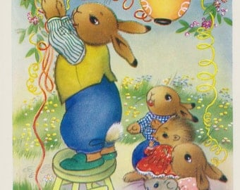 Vintage dressed animals postcard,  Daddy Bunny Rabbit hangs Chinese lanterns postcard, dressed baby animals postcard, Salmon, Sevenoaks