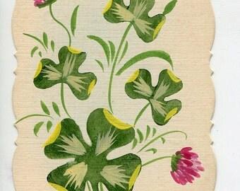 Shamrocks, clover antique French postcard, hand painted vintage post card vintage postcard, SharonFosterVintage