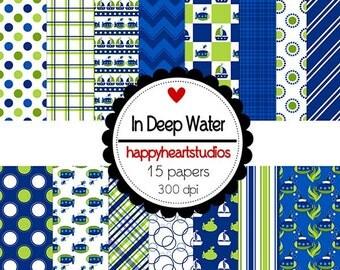 digital Scrapbook  In Deep Water-INSTANT DOWNLOAD