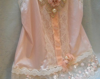 30% OFF - June Sale TUNIC Top Tank Romantic Boho Whimsical Fairy Princess Ethereal Faries Pinkish/Peach