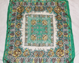 30s 40s Vintage Large Silk Scarf Green and Yellow Floral