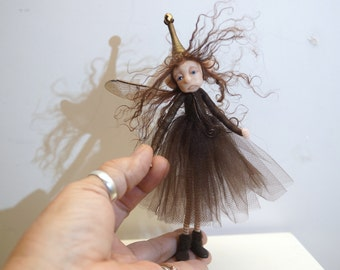 ooak poseable brown common PIXIE fairy ( #4 ) polymer clay art doll by DinkyDarlings elf pixie faery