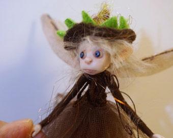 ooak poseable  little brown THREAD PIXIE FAIRY w/ acorn hat ( #1 )  elf polymer clay art doll by DinkyDarlings