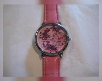 Women Wrist Watch, Queen Anne Lace in Watch with Leather Band, Pink Wrist Watch, Watch for Women, Women's Watch, Wrist Watch For Women