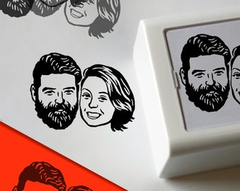 Custom portraits Save the date / Unique couples' art / Stamp box / invitations rustic wedding stamp gift / self inking / valentine's day