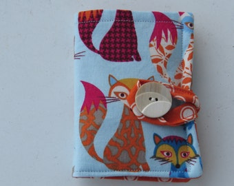 Tea Wallet in Colorful Foxes and Orange Dots Tea Bag Holder