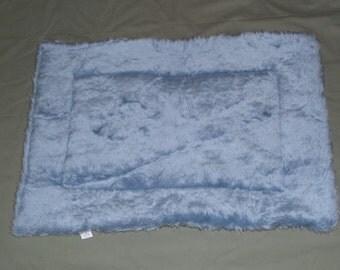 "Blue Faux Fur Fleece Crate Pad, 20""x29""   Double Fleece Light Blue Dog Bed   Cat Fleece Mat   Small Animal Pad   Kennel Pad   Show Dog Mat"