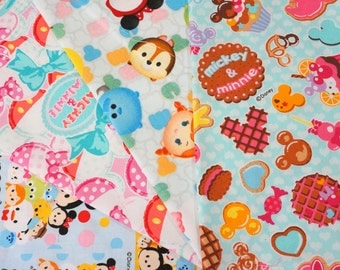 Disney licensed  fabric scrap  Minnie Mouse and tsum tsum   print 25 cm by 25 cm or 9.6 by 9.6 inches each piece  Printed in Japan