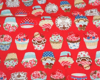 Cupcake print Japanese fabric Half meter 50 cm by 105 cm or 19.6 by 42 nc11