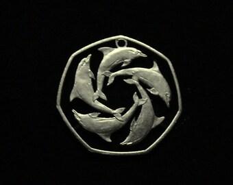 Gibralter- Cut Coin Pendant - Geometric Dolphin Pattern - 1997