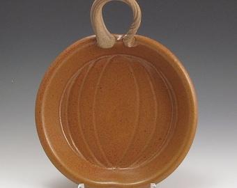 Handmade, Stoneware, Pumpkin Pie Plate, Orange, John Bauman