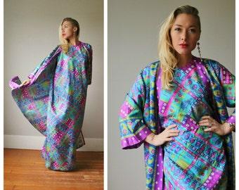 1970s Vibrant Nordstrom Kaftan Dress~Size Small to Medium