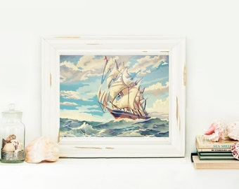 Instant Download Tall Ship Paint By Number Print Your Own Artwork Nautical Painting Digital Download Sailboat Art