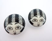 2 x 23mm Black & White Flapper Girl Buttons
