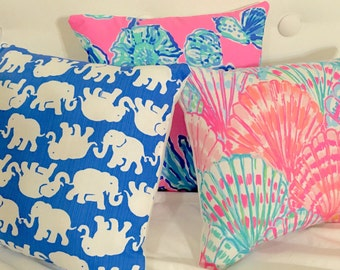 New Pillow made with Lilly Pulitzer Blue Tusk In the Sun fabric, 2 sizes available