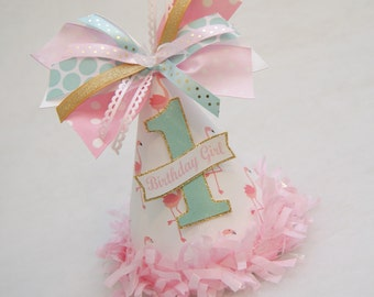 NEW!  Pink Flamingo, Aqua, and Gold Birthday Party Hat