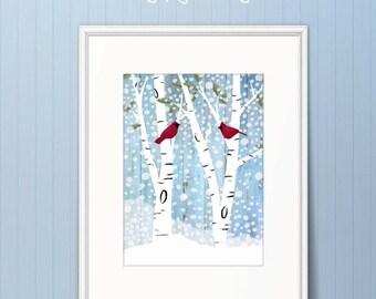 Winter Birch & Cardinals Poster Print