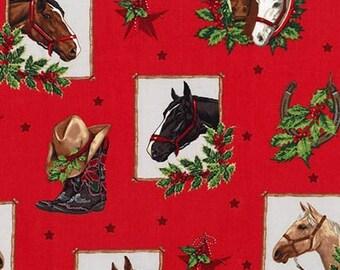 Clearance FABRIC Holly Jolly CHRISTMAS 5 HORSES  1/2 yard